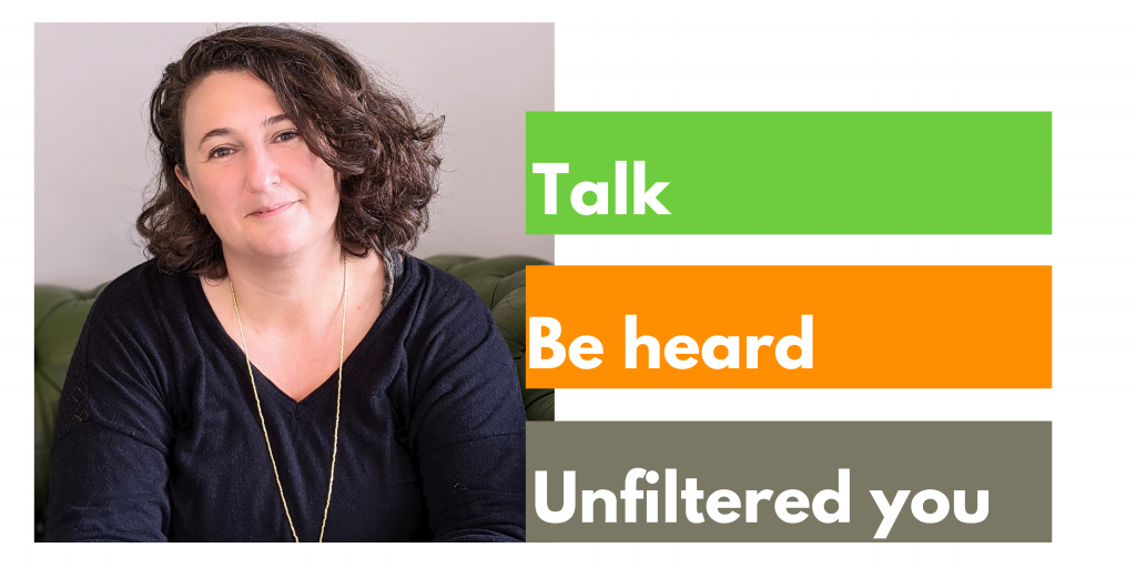 Image of Carina Badger MBACP, counsellor, therapist and text: Talk, be heard, unfiltered you